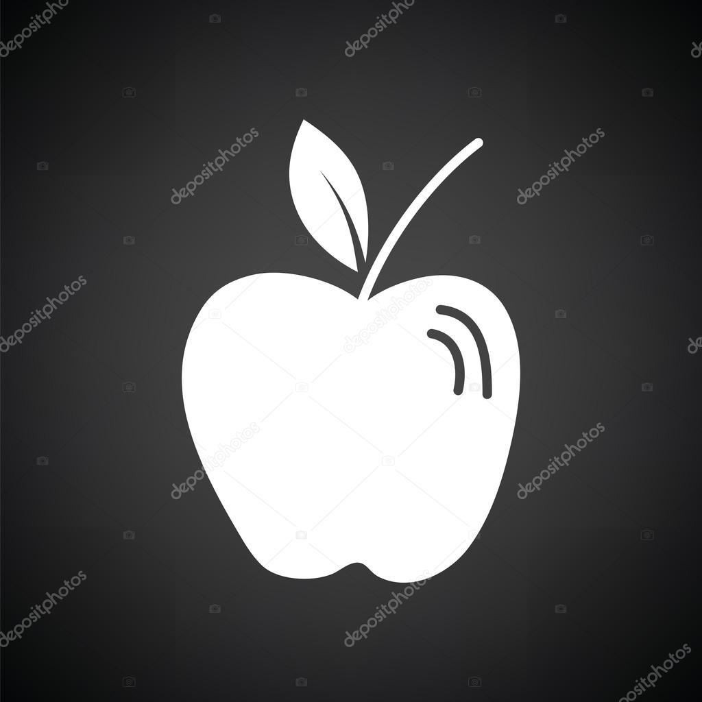 Cone de ma de preto e branco vetor de stock angelp 124016810 cone da apple fundo preto com branco ilustrao vetorial vetor por angelp thecheapjerseys Images