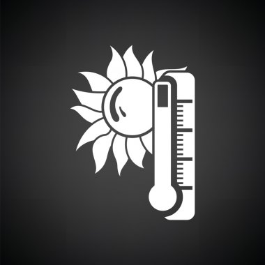 Summer heat icon. Black background with white. Vector illustration. clip art vector