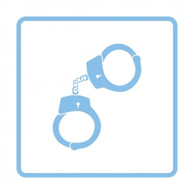 Handcuff  icon. Blue frame design.