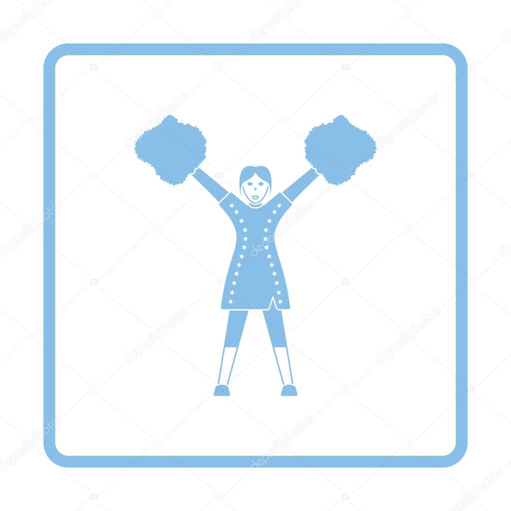 US-amerikanischer American-Football-Cheerleader-Mädchen-Symbol ...