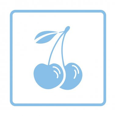 Cherry icon. Blue frame design.