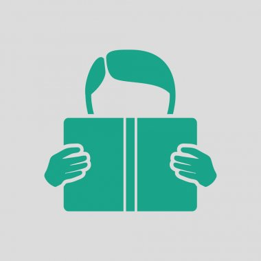 Boy reading book icon