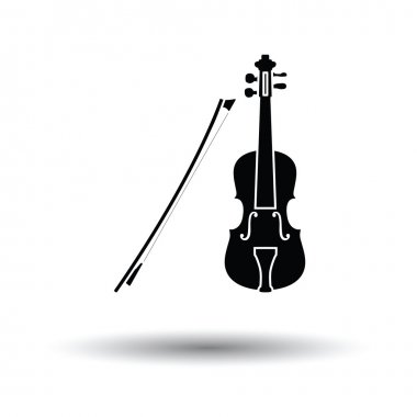 Violin icon with shadow design