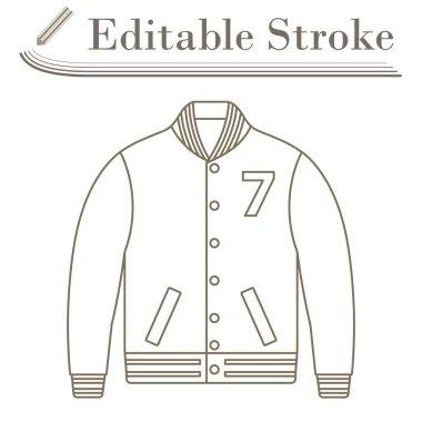 Baseball Jacket Icon. Editable Stroke Simple Design. Vector Illustration. icon
