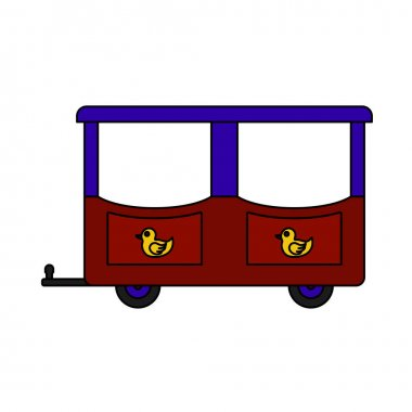 Wagon Of Children Train Icon. Editable Outline With Color Fill Design. Vector Illustration. icon
