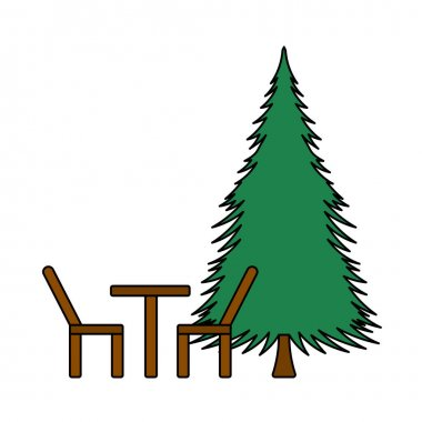 Icon Of Park Seat And Pine Tre. Editable Outline With Color Fill Design. Vector Illustration. icon