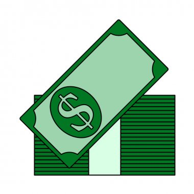 Stack Of Banknotes Icon. Editable Outline With Color Fill Design. Vector Illustration. icon