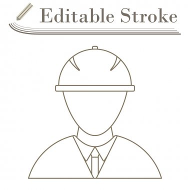 Icon Of Construction Worker Head In Helmet. Editable Stroke Simple Design. Vector Illustration. icon