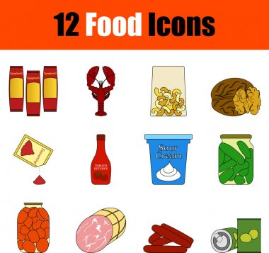 Food Icon Set. Flat Color Outline Design With Editable Stroke. Vector Illustration. icon