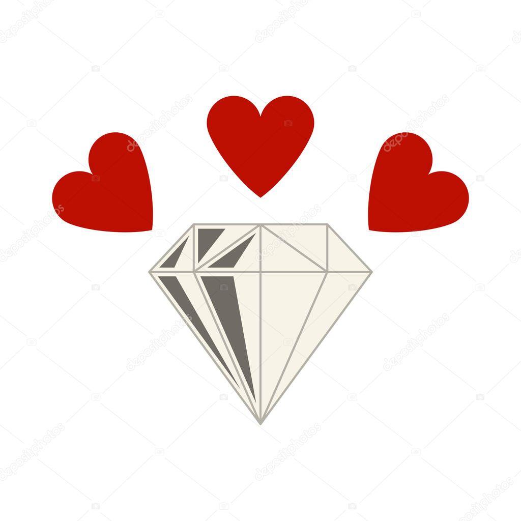 Diamond With Hearts Icon icon