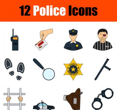 Police Icon Set. Flat Color Outline Design With Editable Stroke. Vector Illustration. icon