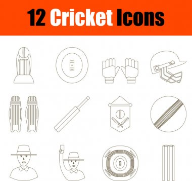 Cricket Icon Set. Thin Editable Stroke Line Without Filling Design. Vector Illustration. icon