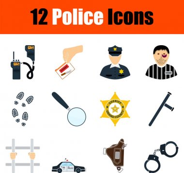 Police Icon Set. Flat Design. Fully editable vector illustration. Text expanded. icon