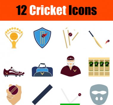Cricket Icon Set. Flat Design. Fully editable vector illustration. Text expanded. icon