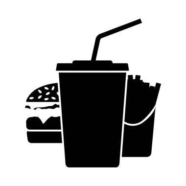 Fast Food Icon. Black Glyph Design. Vector Illustration. icon