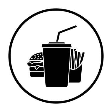 Fast Food Icon. Thin Circle Stencil Design. Vector Illustration. icon