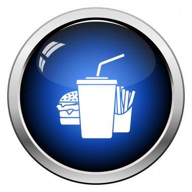 Fast Food Icon. Glossy Button Design. Vector Illustration. icon