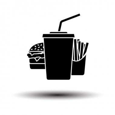 Fast Food Icon. Black on White Background With Shadow. Vector Illustration. icon