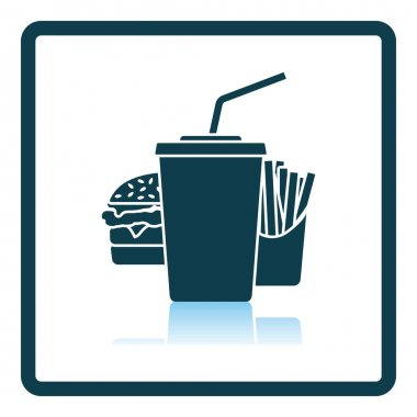 Fast Food Icon. Square Shadow Reflection Design. Vector Illustration. icon