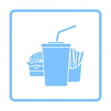 Fast Food Icon. Blue Frame Design. Vector Illustration. icon
