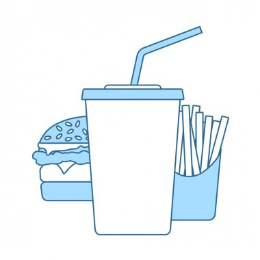 Fast Food Icon. Thin Line With Blue Fill Design. Vector Illustration. icon