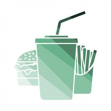 Fast Food Icon. Flat Color Ladder Design. Vector Illustration. icon