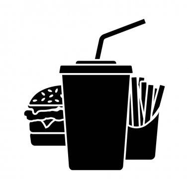Fast Food Icon. Black Stencil Design. Vector Illustration. icon