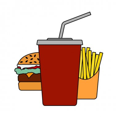 Fast Food Icon. Editable Outline With Color Fill Design. Vector Illustration. icon
