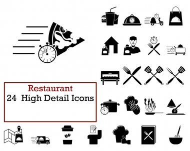Restaurant Icon Set. Cute and Smooth Glyph Design. Fully editable vector illustration. Text expanded. icon
