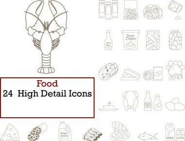 Food Icon Set. Thin Editable Stroke Line Without Filling Design. Vector Illustration. icon