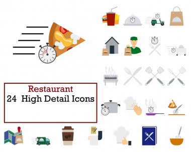 Restaurant Icon Set. Flat Design. Fully editable vector illustration. Text expanded. icon