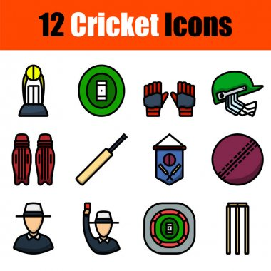 Cricket Icon Set. Editable Bold Outline With Color Fill Design. Vector Illustration. icon
