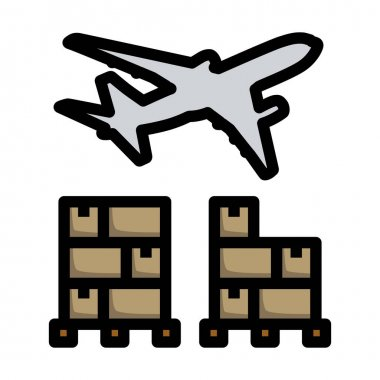 Boxes On Pallet Under Airplane. Editable Bold Outline With Color Fill Design. Vector Illustration. icon
