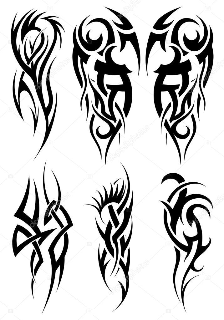 Imágenes Tribales Set De Tatuajes Tribales Vector De Stock