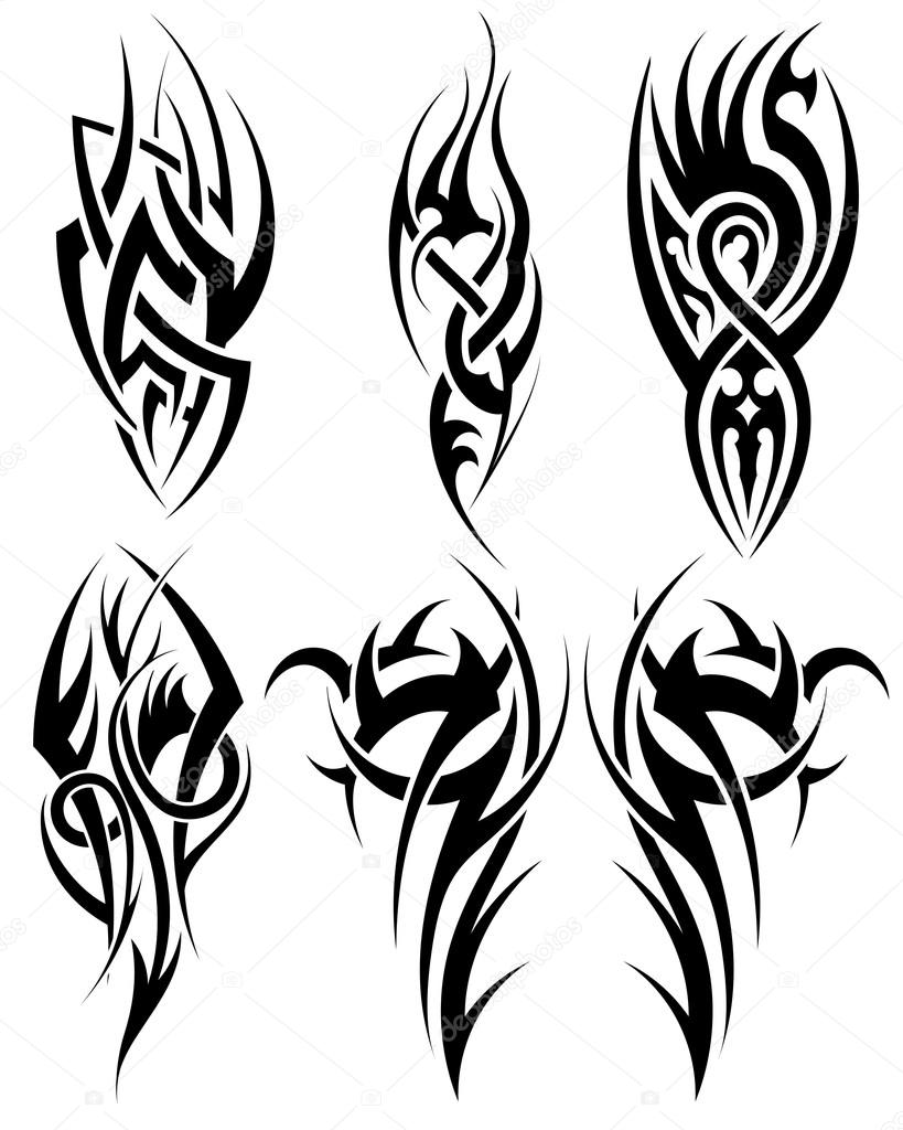 Tribal-Tattoos depositphotos_72058365-stock-illustration-set-of-tribal-tattoos