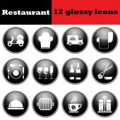 Photo Set of restaurant glossy icons