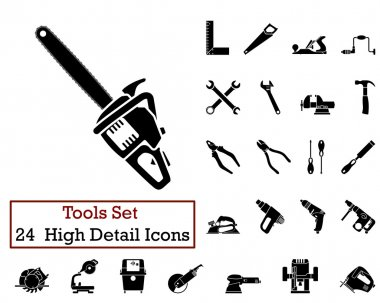 Set of 24 Tools Icons in Black Color. clip art vector