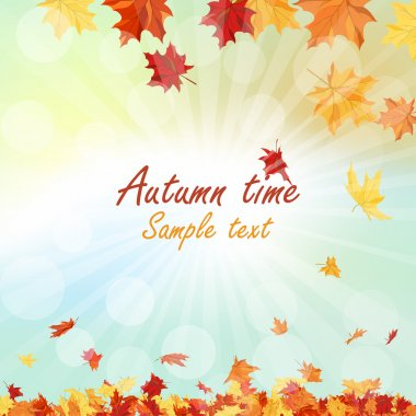 Autumn  Frame With Falling Maple Leaves