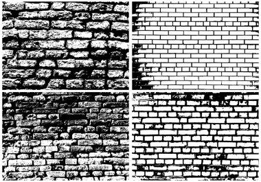 Set of Grunge Brick Wall Backgrounds