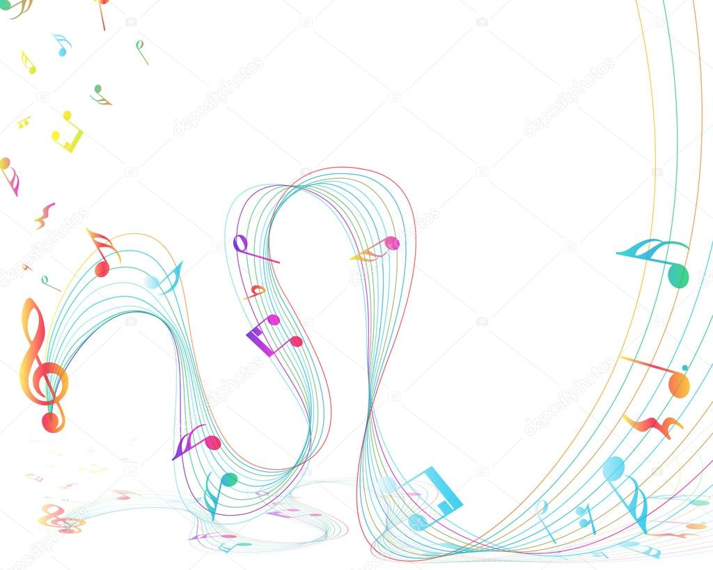 Multicolor Musical Design With Notes