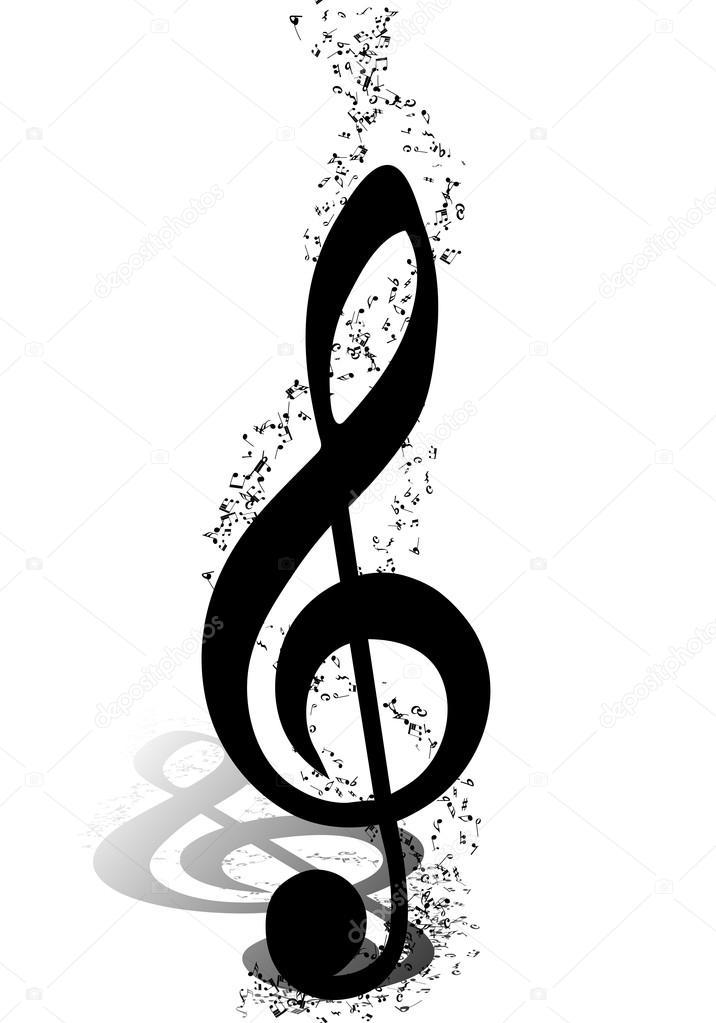 Chiave Di Violino E Note In Bianco E Nero Vettoriali Stock