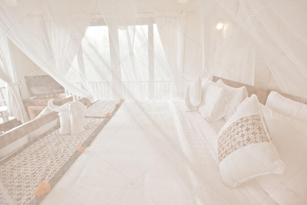 Urocze Sypialnia łóżko Z Baldachimem Nanoszone Zdjęcie