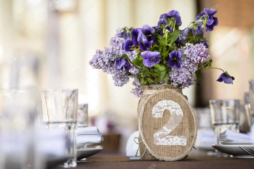table decor with flowers, number