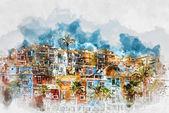Digital watercolor painting  of Villajoyosa skyline. Spain