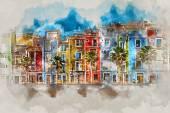Digitální Malba akvarel města Villajoyosa, Španělsko