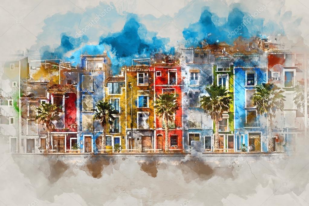 Digital watercolor painting of Villajoyosa town, Spain