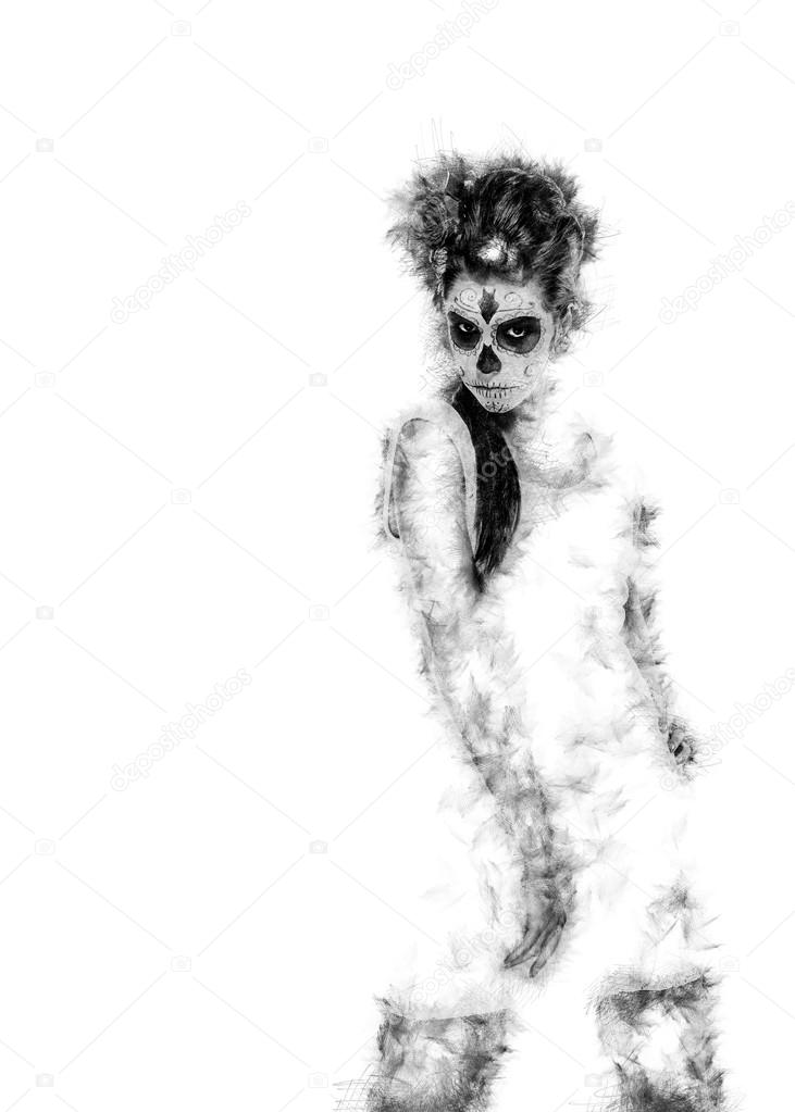 Day of the dead girl. Digitally generated image