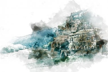 Digital watercolor painting of Miravet village. Province of Tarr