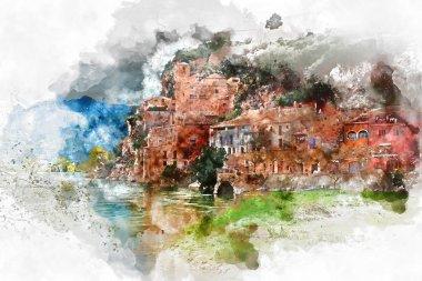 Digital watercolor painting of Miravet village. Spain