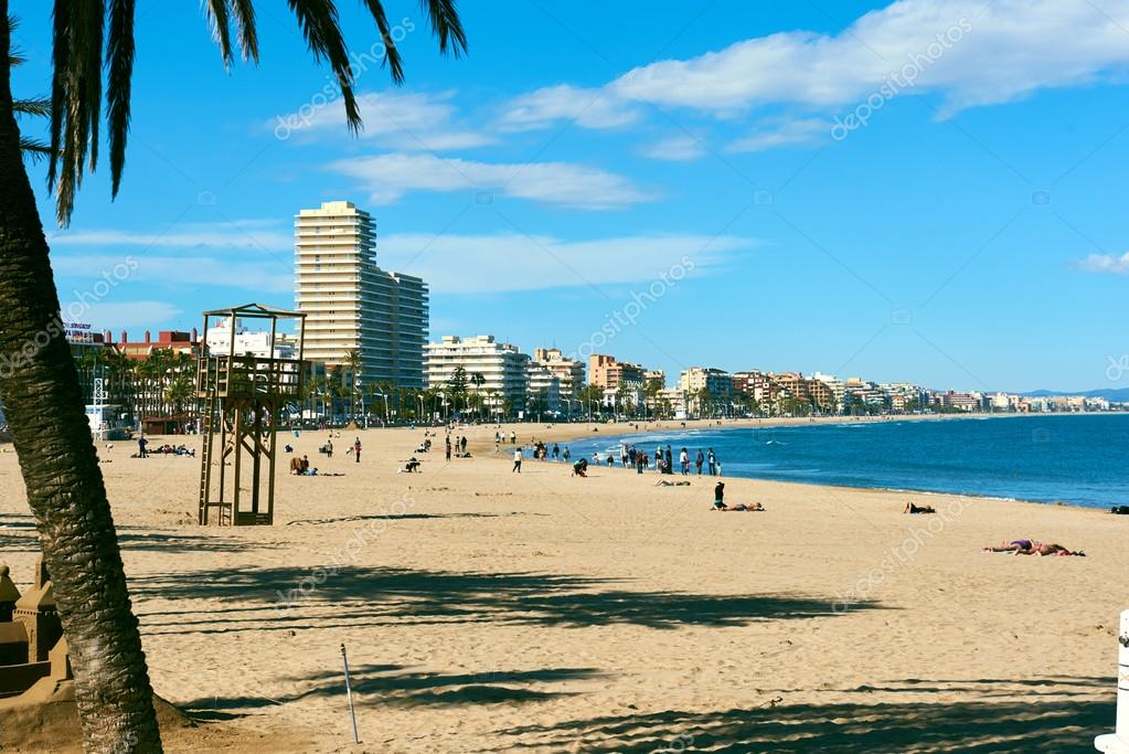 People Relaxing On The Peniscola Beach Spain Stock Photo 114979112